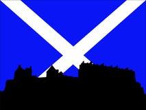 Het kasteel van Edinburgh en Schotse Vlag vector illustratie