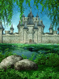 Het kasteel van Fairytale op een weide stock illustratie