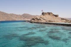 Het Kasteel van Gr DIN van Salah dichtbij Taba in Egypte Stock Foto