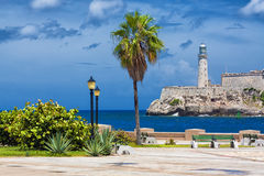 Het kasteel van Gr Morro in Havana Stock Foto