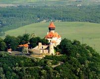 Het kasteel van Hnevin - luchtfoto Royalty-vrije Stock Afbeeldingen