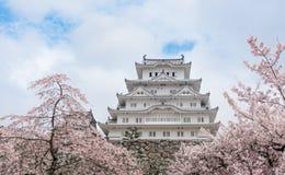 Het kasteel van Japan Himeji, Wit Reigerkasteel in mooie sakura che Stock Afbeeldingen