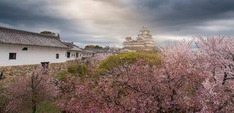 Het kasteel van Japan Himeji, Wit Reigerkasteel in mooie sakura che Royalty-vrije Stock Afbeeldingen