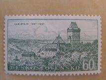 Het kasteel van Karlstejn - zegel Czechlosvakian Royalty-vrije Stock Afbeeldingen