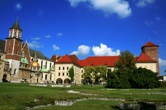 Het kasteel van Krakau - panorama Royalty-vrije Stock Foto's