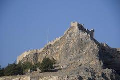 Het kasteel van Lindos - Griekenland Stock Foto's