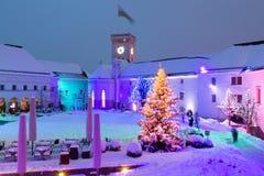 Het kasteel van Ljubljana bij nacht Royalty-vrije Stock Fotografie