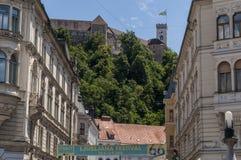 Het Kasteel van Ljubljana, Ljubljana, Ljubljanski grad, middeleeuwse horizon, kasteel, fort, vesting, Slovenië, Europa, panorama Royalty-vrije Stock Fotografie