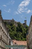 Het Kasteel van Ljubljana, Ljubljana, Ljubljanski grad, middeleeuwse horizon, kasteel, fort, vesting, Slovenië, Europa, panorama Stock Foto
