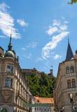 Het Kasteel van Ljubljana, Ljubljana, Ljubljanski grad, middeleeuwse horizon, kasteel, fort, vesting, Slovenië, Europa, panorama Stock Fotografie