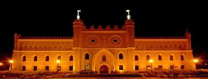 Het kasteel van Lublin bij nacht 2 Stock Foto's