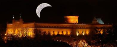 Het kasteel van Lublin bij nacht Stock Afbeeldingen