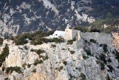 Het kasteel van Monolithos, het Eiland van Rhodos (Griekenland) Stock Afbeelding