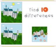 Het kasteel van Neuschwanstein Spel voor jonge geitjes: vind tien verschillen Royalty-vrije Stock Foto's