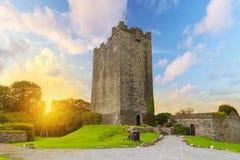 Het Kasteel van O'Dea van Dysert in Co. Clare bij zonsondergang Royalty-vrije Stock Foto