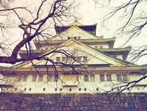 Het kasteel van Osaka in uitstekende stijl Stock Afbeeldingen