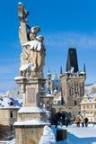 Het kasteel van Praag en Charles-brug, Praag (Unesco), Tsjechische republi Stock Foto's