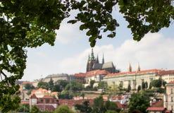 Het Kasteel van Praag over de rivier Vltava Stock Foto's