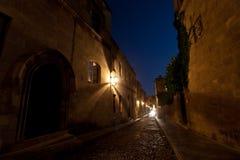 Het kasteel van Rhodos bij nacht. Royalty-vrije Stock Foto