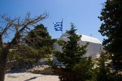 Het Kasteel van Rhodosgriekenland van van de de gebouwenarchitectuur van Monolithos historische blauwe anciant de hemelruïnes Stock Fotografie