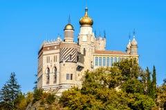 Het kasteel van Rocchettamattei in Riola, Grizzana Morandi - Bologna pro stock foto's