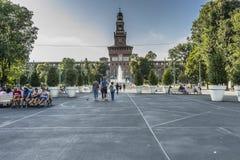 Het Kasteel van Sforza in Milaan, Italië stock afbeeldingen