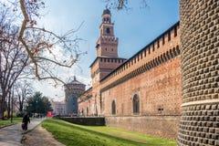 Het Kasteel van Sforza in Milaan, Italië stock foto's