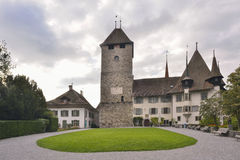 Het Kasteel van Spiez, het Kanton van Bern, Zwitserland Stock Afbeelding