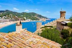 Het kasteel van Tossa de Mar in Costa Brava van Catalonië Stock Fotografie