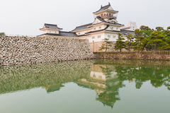 Het kasteel van Toyama met bezinning in water, kasteel historisch oriëntatiepunt stock foto