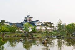 Het kasteel van Toyama met mooie tuin en bezinning in water Stock Foto's
