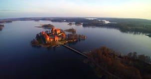 Het kasteel van Trakai stock videobeelden