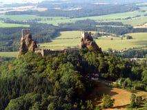 Het kasteel van Trosky - luchtfoto Royalty-vrije Stock Fotografie