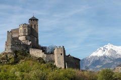 Het kasteel van Valere in Sion, Zwitserland stock fotografie