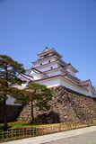 Het Kasteel van Wakamatsu van Aizu, Fukushima, Japan stock afbeelding