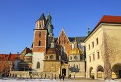 Het Kasteel van Wawel complex in Krakau Stock Afbeelding