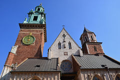 Het kasteel van Wawel en kathedraal, Krakau Stock Afbeeldingen