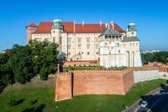 Het Kasteel van Wawel in Krakau, Polen Stock Foto's