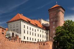 Het Kasteel van Wawel in Polen Krakau in een eerste hoofdstad van Polen Stock Fotografie