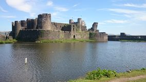 Het Kasteel Wales van Caerphilly Stock Afbeeldingen