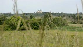 Het kasteel is zichtbaar in de afstand tussen de groene bomen stock video