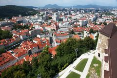 Het kasteelmening van Ljubljana royalty-vrije stock afbeelding