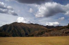 Het kasteelruïnes van Inca in Chinchero stock foto's