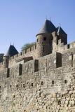 Het kasteeltorens van Carcassonne Stock Foto