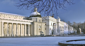 Het kathedraalgebied en de kathedraal in Vilnius Stock Foto's
