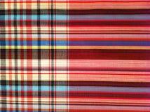 Het Katoen van de stoffenplaid van kleurrijke achtergrond en abstracte textuur Stock Foto