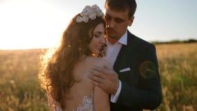 Het Kaukasische bruid en bruidegom stellen op het gebied stock video
