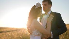 Het Kaukasische bruid en bruidegom stellen op het gebied stock footage