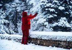 Het Kaukasische mens spelen met sneeuw stock foto