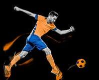Het Kaukasische van de voetballermens zwarte lichte schilderen als achtergrond stock afbeelding